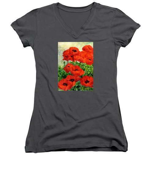 Red  Poppies In Shade Colorful Flowers Garden Art Women's V-Neck T-Shirt (Junior Cut) by Elizabeth Sawyer