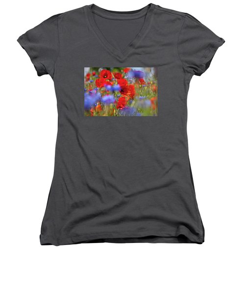Red Poppies In The Maedow Women's V-Neck T-Shirt (Junior Cut) by Heiko Koehrer-Wagner
