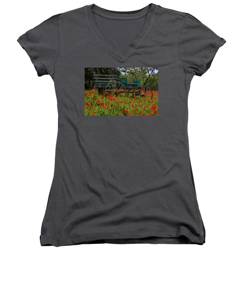Red Poppies With Wagon Women's V-Neck