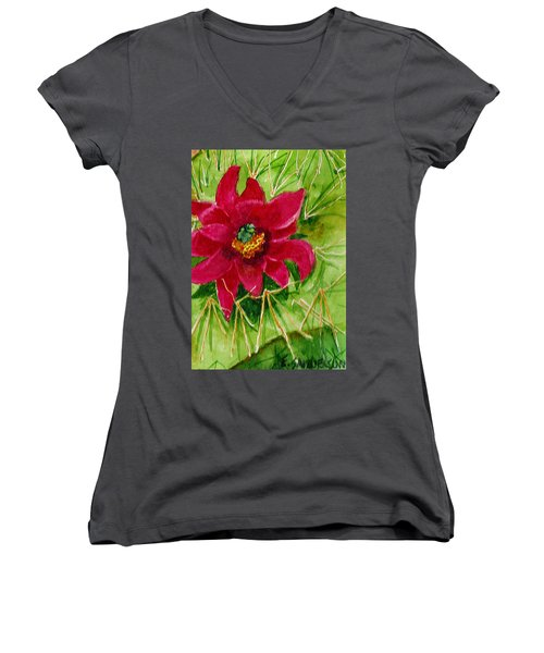 Women's V-Neck T-Shirt (Junior Cut) featuring the painting Red Prickly Pear by Eric Samuelson