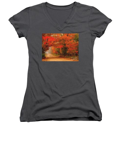 Red Red Autumn Women's V-Neck T-Shirt (Junior Cut) by Terri Gostola