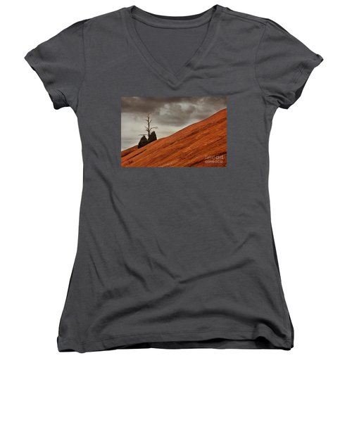 Women's V-Neck T-Shirt (Junior Cut) featuring the photograph Red Rock by Dana DiPasquale