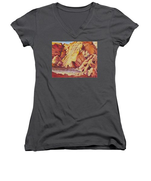 Women's V-Neck T-Shirt (Junior Cut) featuring the painting Red Rocks by Michele Myers