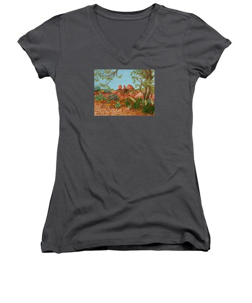 Women's V-Neck T-Shirt (Junior Cut) featuring the painting Landscapes Desert Red Rocks Of Sedona Arizona by Katherine Young-Beck