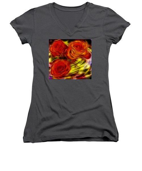 Women's V-Neck T-Shirt (Junior Cut) featuring the painting Red Roses In Water - Fractal  by Lilia D
