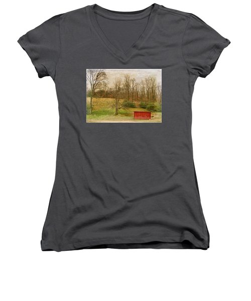 Red Shed Women's V-Neck T-Shirt (Junior Cut) by Paulette B Wright