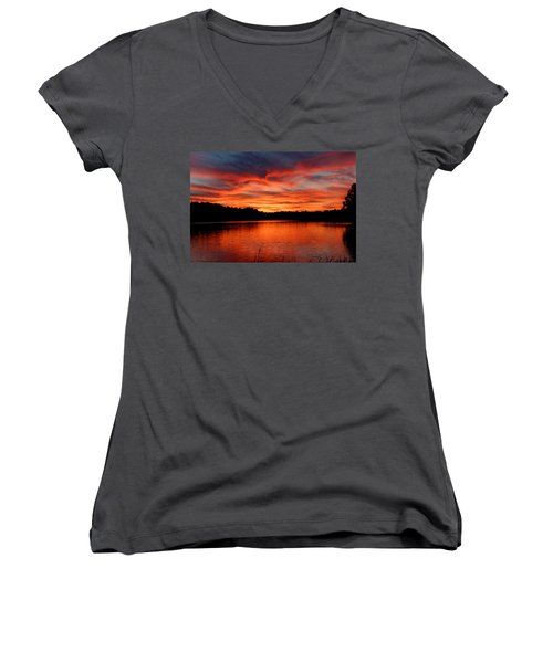 Red Sunset Reflections Women's V-Neck T-Shirt (Junior Cut) by Denyse Duhaime