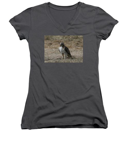 Women's V-Neck T-Shirt (Junior Cut) featuring the photograph Red Tailed Hawk by Neal Eslinger
