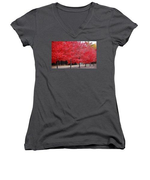 Red Tree Line Women's V-Neck T-Shirt (Junior Cut)