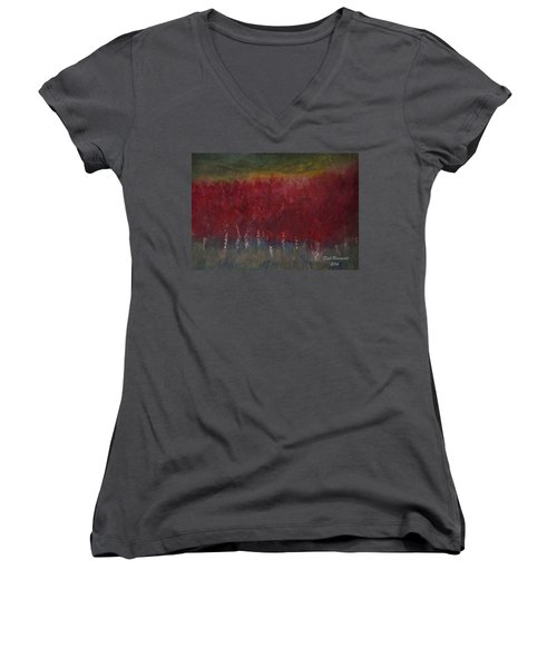 Red Trees Watercolor Women's V-Neck T-Shirt
