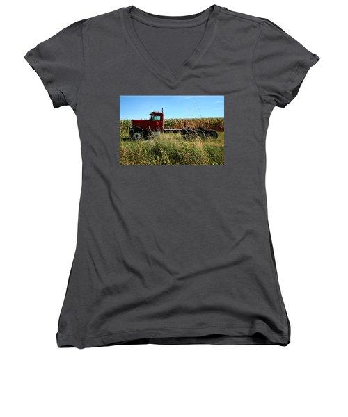 Red Truck In A Corn Field Women's V-Neck T-Shirt