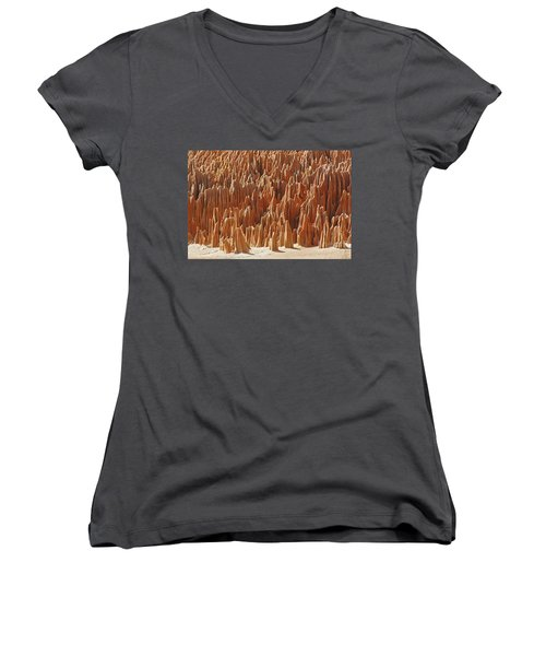 red Tsingy Madagascar 1 Women's V-Neck T-Shirt (Junior Cut) by Rudi Prott