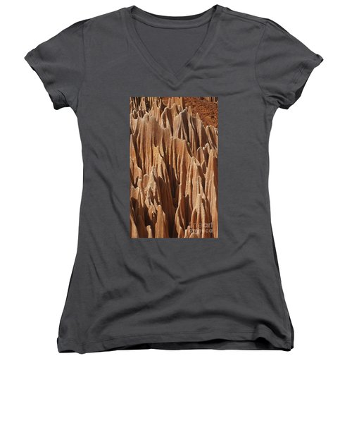 red Tsingy Madagascar 5 Women's V-Neck T-Shirt (Junior Cut) by Rudi Prott