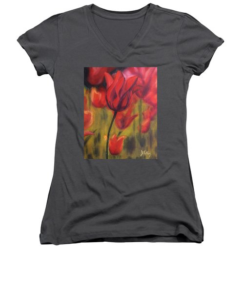 Women's V-Neck T-Shirt (Junior Cut) featuring the painting Red Tulips by Donna Tuten