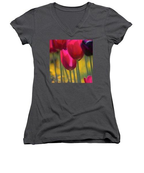 Red Tulips Women's V-Neck
