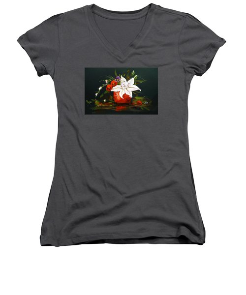 Red Vase With Lily And Pansies Women's V-Neck T-Shirt (Junior Cut) by Dorothy Maier