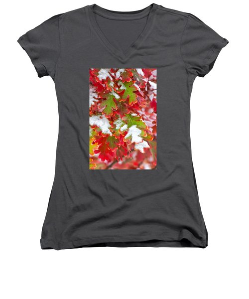 Red White And Green Women's V-Neck