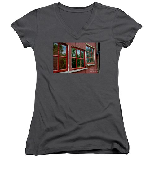 Women's V-Neck T-Shirt featuring the photograph Red Windows Paned by Christiane Hellner-OBrien