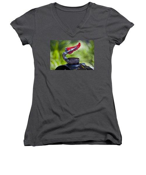 Red Wings Hood Ornament Women's V-Neck T-Shirt