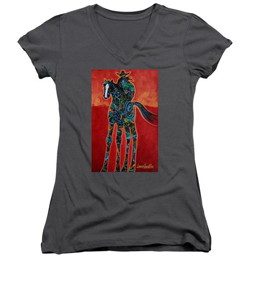 Red With Rope Women's V-Neck T-Shirt