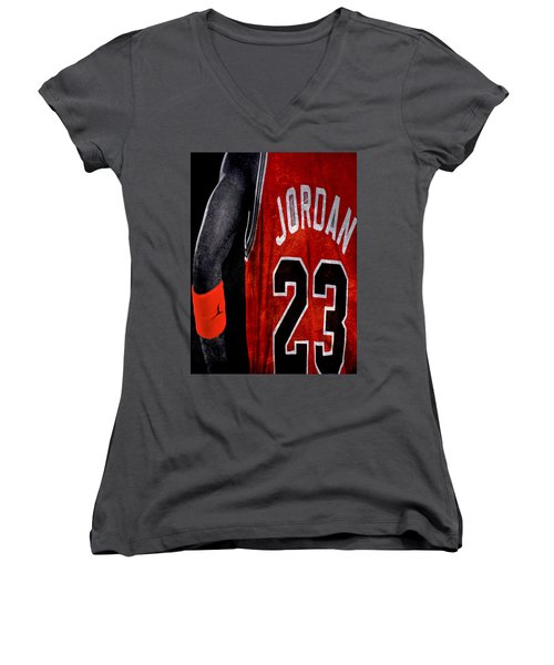 Women's V-Neck T-Shirt (Junior Cut) featuring the digital art Red Wrist Band by Brian Reaves