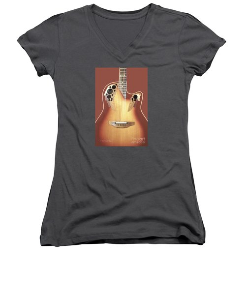 Redish-brown Guitar On Redish-brown Background Women's V-Neck (Athletic Fit)