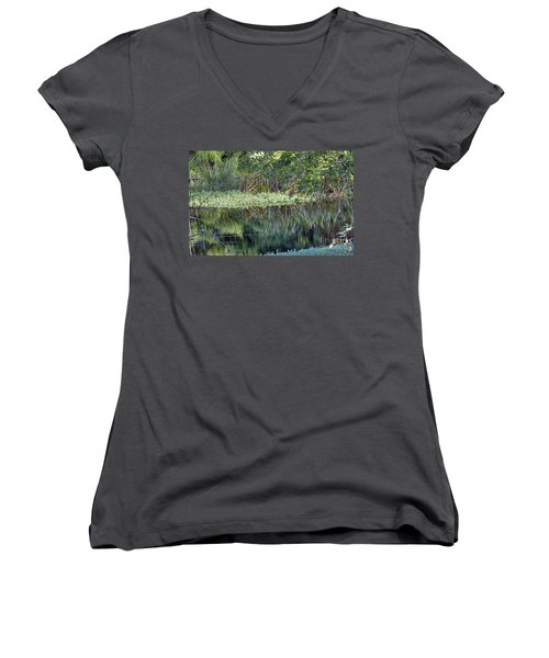 Women's V-Neck T-Shirt (Junior Cut) featuring the photograph Reed Reflections by Kate Brown