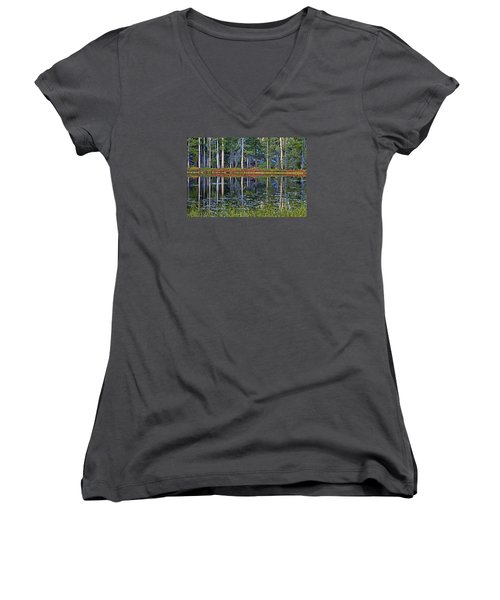 Reflecting Nature Women's V-Neck T-Shirt (Junior Cut) by Duncan Selby
