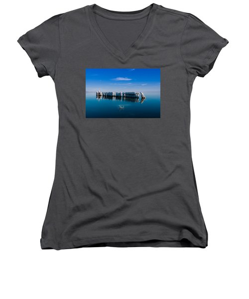 Reflection At Salton Sea Women's V-Neck T-Shirt (Junior Cut) by Ralph Vazquez