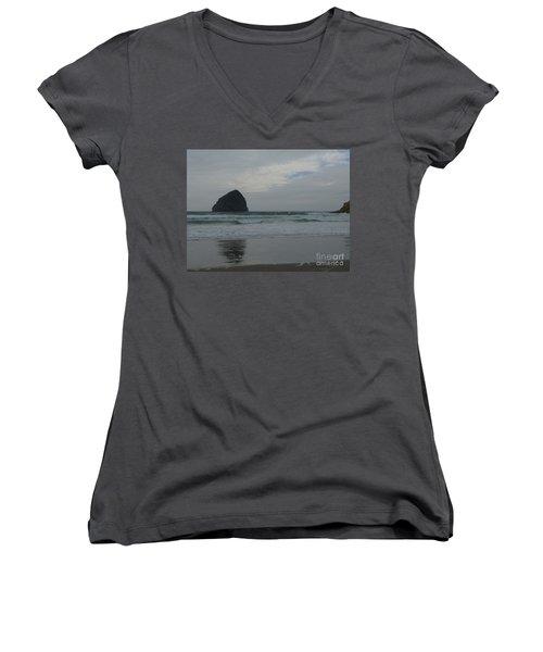 Reflection Of Haystock Rock  Women's V-Neck T-Shirt (Junior Cut) by Susan Garren