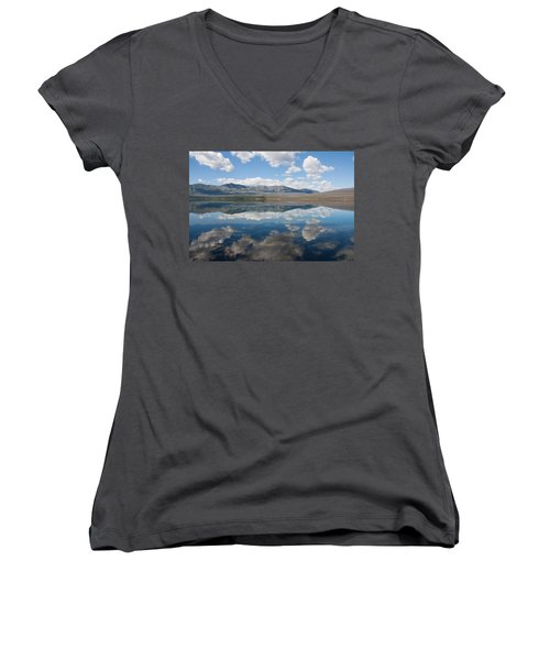 Reflections At Glacier National Park Women's V-Neck T-Shirt (Junior Cut) by John M Bailey