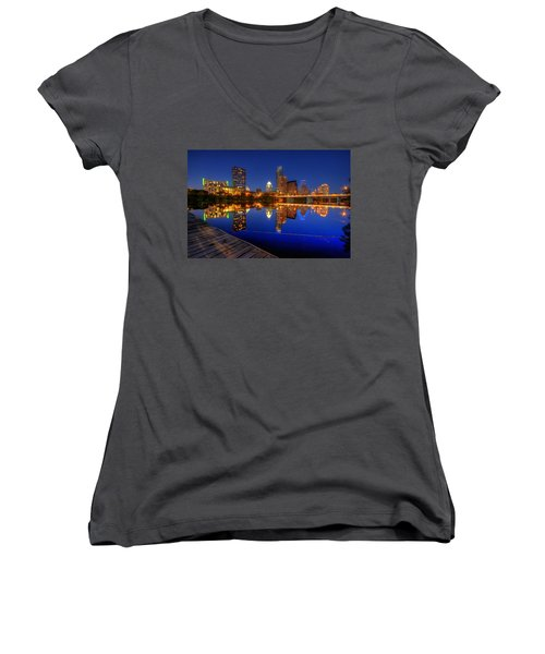 Reflections Women's V-Neck T-Shirt (Junior Cut) by Dave Files