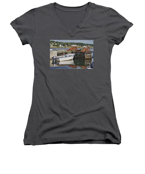 Women's V-Neck T-Shirt (Junior Cut) featuring the photograph Reflections by Eunice Gibb