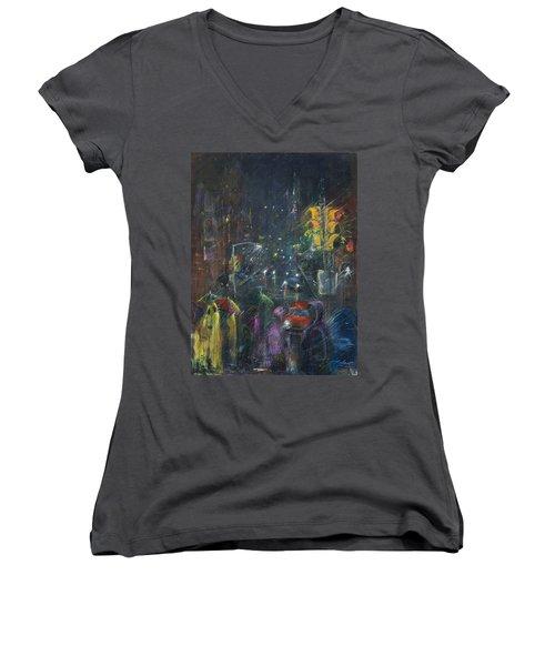 Reflections Of A Rainy Night Women's V-Neck T-Shirt (Junior Cut) by Leela Payne