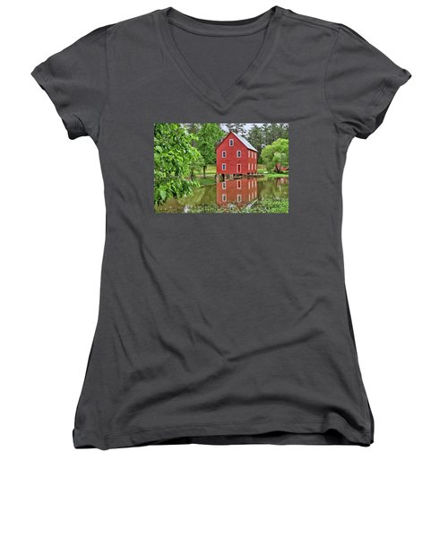 Reflections Of A Retired Grist Mill Women's V-Neck T-Shirt