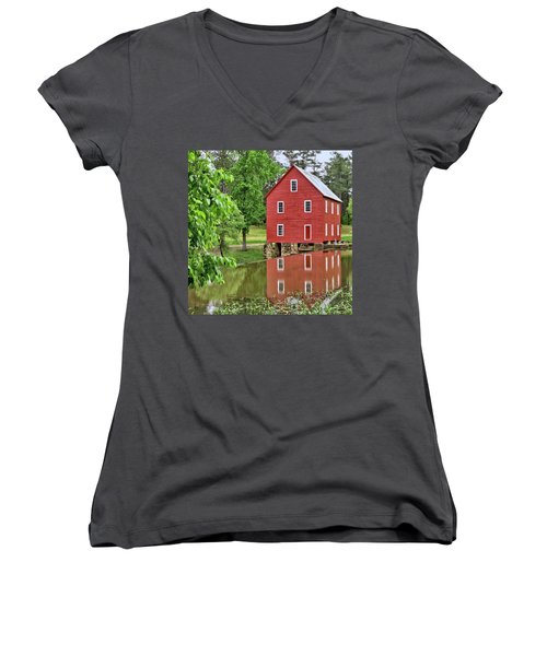 Reflections Of A Retired Grist Mill - Square Women's V-Neck T-Shirt