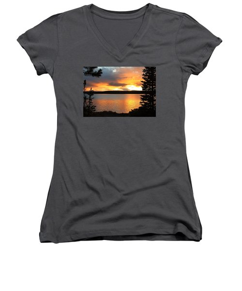 Reflections Of Sunset Women's V-Neck T-Shirt (Junior Cut) by Athena Mckinzie