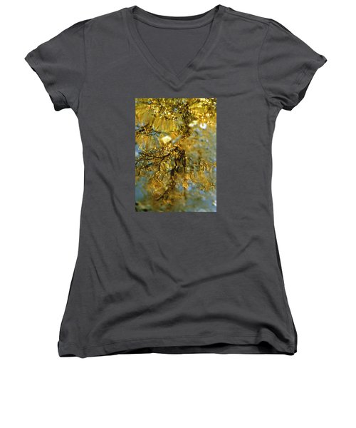 Reflections Of Trees In Gold Women's V-Neck