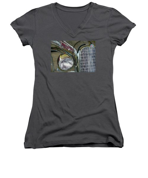 Women's V-Neck T-Shirt (Junior Cut) featuring the painting Reflections On 1931 Alfa Romeo Milano by Anna Ruzsan