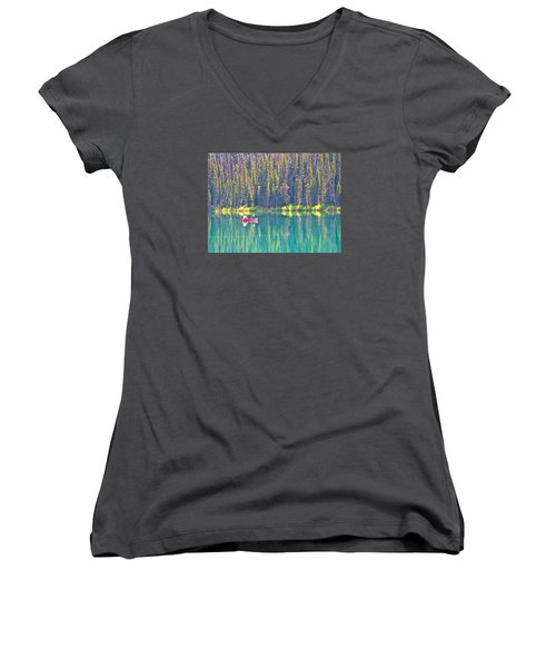 Reflective Fishing On Emerald Lake In Yoho National Park-british Columbia-canada  Women's V-Neck T-Shirt (Junior Cut) by Ruth Hager