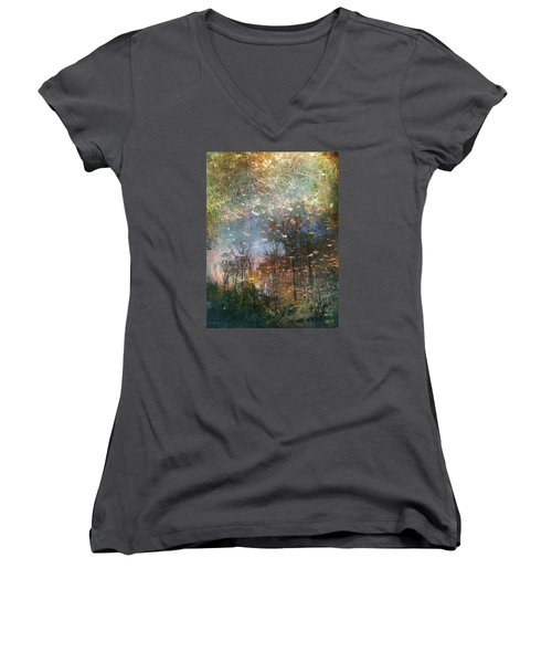 Women's V-Neck T-Shirt (Junior Cut) featuring the photograph Reflective Waters by John Rivera