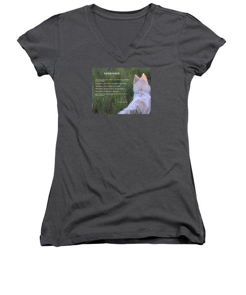Remember Women's V-Neck T-Shirt (Junior Cut) by Fiona Kennard