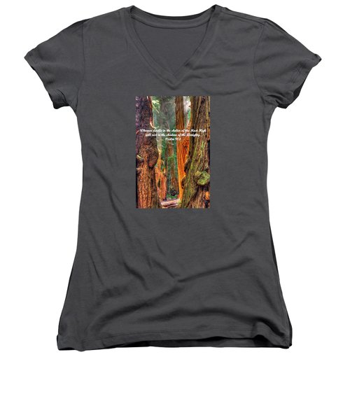 Rest In The Shadow Of The Almighty - Psalm 91.1 - From Sunlight Beams Into The Grove At Muir Woods Women's V-Neck T-Shirt (Junior Cut) by Michael Mazaika