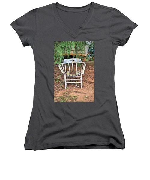 Women's V-Neck T-Shirt (Junior Cut) featuring the photograph Retired by Gordon Elwell
