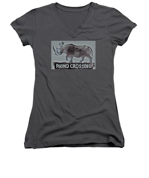 Rhino Xiv Women's V-Neck T-Shirt (Junior Cut) by Larry Campbell