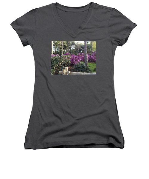 Rhododendron Garden Women's V-Neck (Athletic Fit)