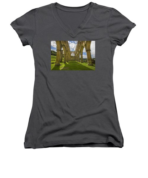 Rievaulx Abbey Women's V-Neck (Athletic Fit)