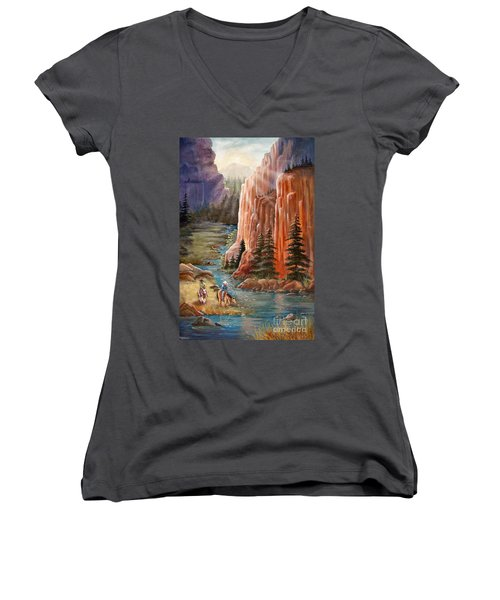 Rim Canyon Ride Women's V-Neck T-Shirt (Junior Cut) by Marilyn Smith