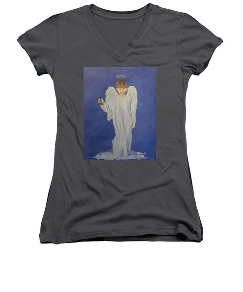 Women's V-Neck T-Shirt (Junior Cut) featuring the painting Ring-a-ding by Wendy Shoults