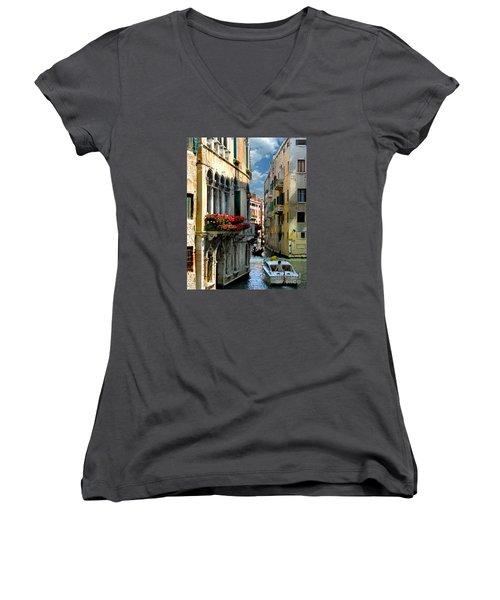 Women's V-Neck T-Shirt (Junior Cut) featuring the photograph Rio Menuo O De La Verona. Venice by Jennie Breeze